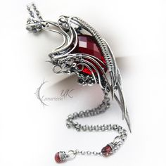 RUNILMARH - silver , red quartz and garnet by LUNARIEEN.deviantart.com on @deviantART