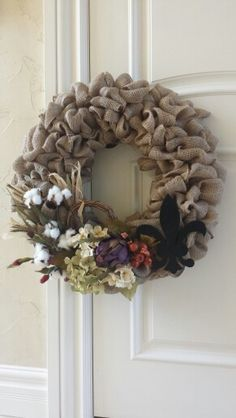 One of two wreaths I just made for my double front doors! Lovin how they turned out!
