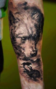 Realistic 3D wolf tattoo on arm