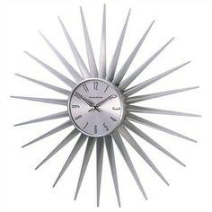 Metal Sunburst Wall Clock in Silver