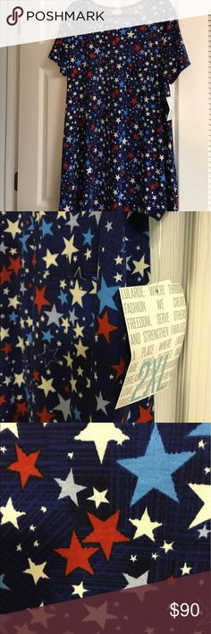 👗🆕LuLaRoe 2x Americana Carly Dress Stars Navy 🇺🇸Americana Collection 2017 Brand new with tags 2x Carly with colorful stars on a navy Background LuLaRoe Dresses