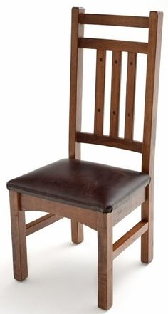 Bungalow Chair with Leather Seat Design #2 - Item # DC06032 - Available in Side or Arm Chair - Wood & Leather Options