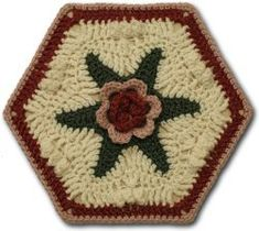 Hexagonal Rosy Motif | AllFreeCrochetAfghanPatterns.com