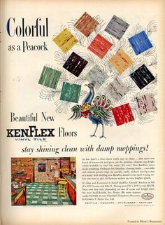"""#Vintage #1960s ad for KenFlex vinyl flooring... described accurately as """"gloriously ugly."""""""