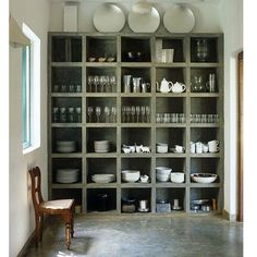 A butler's pantry in poured concrete from a #home in Sri Lanka. We want one...