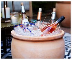 hold drinks in a terracota planter instead of a cooler/bin