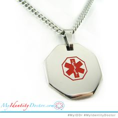 #MyIDDr Take a look at ourmedical ID necklaces! P1R-N27 Custom made and engraved. 316L Steel, non corrosive and non allergenic! Custom black engraving included. Black engraving is highly recommended for your safety and peace of mind. Get a free ID card! Search for; My Identity Doctor Free Medical ID Wallet Card  #MedicalIDNecklace #MedicalAlert #AlzheimersNecklace #Alzheimers