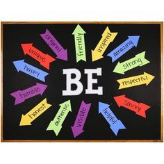Motivational bulletin board using arrows and large letter die cuts from AccuCut. Motivational bulletin board using arrows and large letter die cuts from AccuCut. Unique Bulletin Board Ideas, Library Bulletin Boards, Classroom Bulletin Boards, Classroom Rules, School Classroom, Counseling Bulletin Boards, Bulletin Board Ideas For Teachers, Interactive Bulletin Boards, Back To School Bulletin Boards