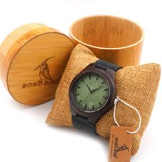Bobobird Vintage Black Wood Watches With Real Leather Band With Round Bamboo Box