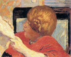 Pierre Bonnard  -  Femme Lisant, Jeune Fille au corsage rouge