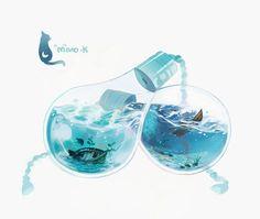 ocean bulbs by mano-k on DeviantArt Magic Bottles, Aesthetic Art, Storyboard, Cute Drawings, Traditional Art, Cute Art, Art Inspo, Art Reference, Amazing Art