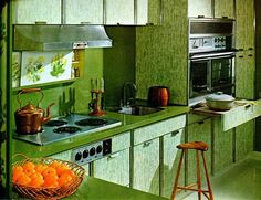 1964 - The Worst Decor Trend From The Year You Were Born - Photos - We are defintely happy the all-green kitchen went out of style. Green Kitchen, Kitchen Dining, Kitchen Decor, Kitchen Ideas, Kitchen 2016, Vintage Interior Design, Vintage Interiors, Retro Design, 1960s Kitchen