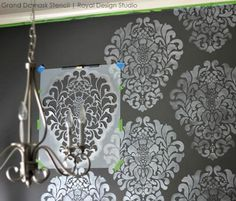 Stenciled Dining Room Accent Wall - DIY Elegant Black and White Dining Room Makeover   Grand Damask Stencil by Royal Design Studio