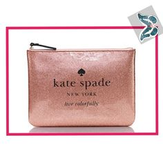 Holiday Drive Gia Sparkle patent pvc, jaquard lining, 14-karat light gold plated hardware, pouch with zip top closure , 7.2H X 10.1 W X D, in sparkle rose gold in color, NWT kate spade Bags Cosmetic Bags & Cases