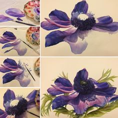 A few steps of my#blue #anemone #painting in #watercolor. Swipe to see a close up of the center and of the full painting. .  #flower #handpainted by #me#artwork #aquarell #acuarela #watercolorflowers #floral#botanical #inspiration #beauty#artforthehome #bestoftheday #artgallery #artstudio #fineart#garden#nature #blumen#blau #kunst #mauve