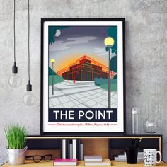 The Point, Milton Keynes Print by Tabitha Mary.   £16.00–£105.00  What's The Point?! Well it's the UK's first multiplex Cinema complex in Central Milton Keynes. Well known for the red glow you could see from miles around. When it opened in 1985, it included the UK's first multiplex cinema. Arguably Milton Keynes only original landmark, demolition plans were announced in March 2015. But it lives on here!