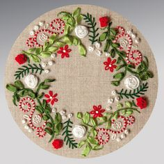Lovely floral embroidered wreath