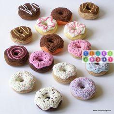 вязаные пончики, пончики крючком описание вязания, вязаные сладости, вязаная еда, донатс, пончик-сувенир
