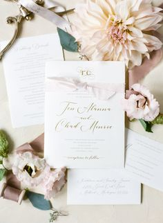 Elegant wedding invitation with gold foil and deckled edges by Poeme. Elegant wedding at Pinecroft Estate with stationery by Poeme. Blush Wedding Stationery, Classic Wedding Invitations, Wedding Invitation Design, Wedding Dinner Menu, Flower Invitation, Wedding Gallery, Gold Foil, Silk Ribbon, Cincinnati