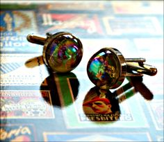 Hologram Cuff Links - Wedding Men's Jewelry - Rainbow Light Catcher Hologram Dragonfly Cufflinks - Men's Accessories. $44.00, via Etsy.