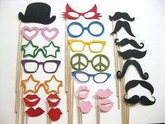 Photo Booth Props - The Fun Collection -  25 piece set - Birthdays, Weddings, Parties - Photobooth Props