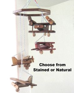 Wood Airplane Mobile with 4 Different Planes  by RaysScraps