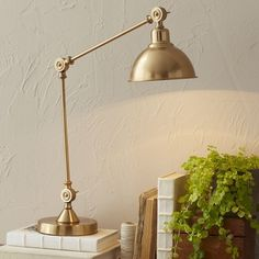 Lighting - This classically inspired brass table lamp features a single bulb and a slim, slight frame, perfect to light up tighter corners or anchor a warm reading nook. Brass Table Lamps, Table Lamp Sets, Bedside Lamp, Desk Lamp, Birch Lane Lighting, Bright Homes, Traditional Furniture, My Living Room, Living Spaces