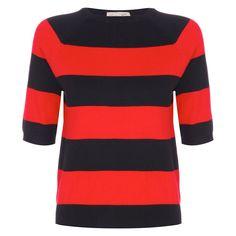 Denise Red Stripe Sweater | Vintage Style Knitwear - Lindy Bop