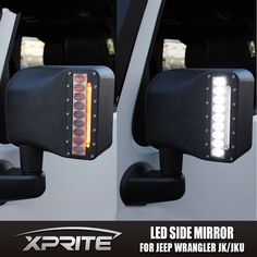 Xprite® Side Mirror Housing with LED white light and amber turn signal light, switch included, for 2007 - 2017 Jeep Wrangler JK. XPRITE USA: Was started in Dec, 2011 on a mission to bring quality products at a very competitive price. Jeep Wrangler Tj, Jeep Wrangler Interior, Jeep Jku, Jeep Wrangler Lights, Jeep Baby, Jeep Camping, Jeep Wrangler Accessories, Jeep Accessories, Offroad Accessories