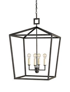 Currey and Company 9871 Denison 5 Light Chandelier In Lantern Style Wrought Iron Mole Black Indoor Lighting Chandeliers