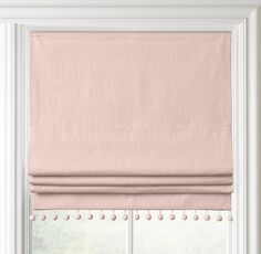 Pom-Pom Linen-Cotton Roman Shade More