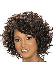 Delicate Short Curly Sepia African American Capless Wigs for Women