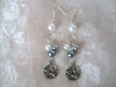 Pentacle Earrings wiccan jewelry pagan jewelry by Sheekydoodle, $9.99