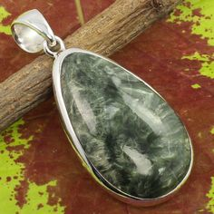 Real SERAPHINITE Cabochon Gemstone 925 Sterling Silver Jewelry Beautiful Pendant #SunriseJewellers #Pendant