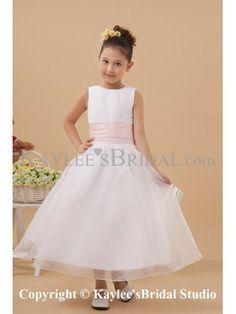 Satin and Organza Jewel Neckline Tea-Length A-line Flower Girl Dress