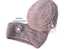 Bonnet et petit tour de cou violet, enfant, snood, headband, bandeau mauve, au crochet fait main,