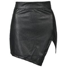 Edge Leather Look Mini Skirt Outfit Made ($25) ❤ liked on Polyvore featuring skirts, mini skirts, bottoms, faldas, gonne, saias, short mini skirts, vegan leather skirt, imitation leather skirt and fake leather skirt