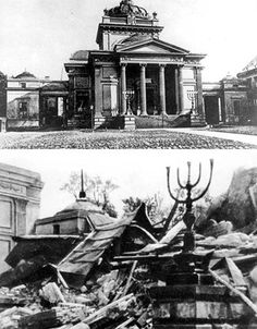 On the 16th of May, 1943, the Germans destroyed the Great Synagogue on Tłomackie street in Warsaw, in an act which proclaimed the final suppression of the ghetto uprising.   These photographs show the Great Synagogue on Tłomackie Street in Warsaw as it appeared before the war and, on the 16th of May 1942 as it lay in ruins. Poland Ww2, Jewish History, World War Two, Holiday Fun, Warsaw Ghetto, Photographs, German, Broken Glass, Creepypasta