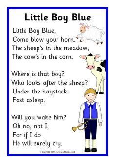 Little Boy Blue rhyme sheet - SparkleBox Nursery Rhythm, Nursery Rhymes Lyrics, Nursery Rhymes Preschool, Nursery Songs, Nursery Stories, Kindergarten Songs, Preschool Songs, Little Boy Blue, Nursery Rymes