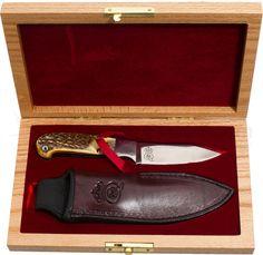 "Queen Joe Kious Hunter Fixed 3-5/8"" Blade, Burnt Stag Bone Handles (01419) - KnifeCenter"