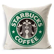 Estilo de La Moda de alta Calidad de Starbucks Café Cojín Almofadas Decorativa Casera de Algodón de Lino Sofá Throw Pillow Cojines Cuadrados(China (Mainland))