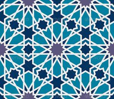 Arabesque Seamless Pattern in Blue and Grey - Patterns Decorative