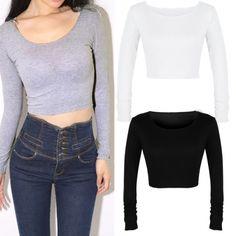Fashion New European Women Ladies Long Sleeve Crop Top Round Neck T Shirt