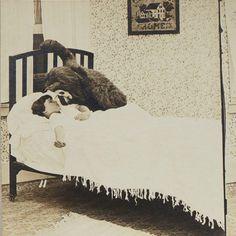 O_O #weird #people #baby #bear #bed #photography #blackandwhite