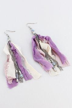 Purple Fabric and Beaded Silvertone Chain Tassel Earrings #AE1761-SBA