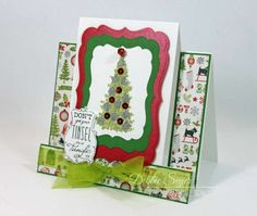 A Christmas Tree Center Step Card using #TheRubberCafe' Creative Cafe' Kit for November!  Plus there is a video showing how to make this on my blog!
