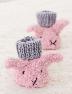 Free Knitting Pattern for Itty Bitty Fuzzy Wuzzy Bunny Booties -   This pattern for super soft baby booties from Yarnspirations is sized for 3, 6, and 12 months.