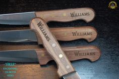 This set is the PERFECT Gift for the Steak Lover or anyone who likes to DINE IN STYLE.  *TOP QUALITY* manufactured by CHICAGO CUTLERY, one of the leading, most well known, cutlery manufacturers.  Restaurant QUALITY and DURABILITY. Made from the finest WALNUT hardwood and stainless steel. It is Personalized with a beautiful script found on NO OTHER knives. * UNLIKE OTHER engraved knives, we engrave BOTH SIDES adding additional beauty for no additional cost!   If you are dedicating your time…