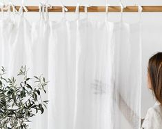 Tie top linen curtain panel, Various colours. Semi-sheer window, shower or door curtain. Custom rod drapes with ties Sequin Curtains, Sheer Linen Curtains, Cotton Curtains, Cafe Curtains, Drapery Panels, Door Curtains, Burlap Curtains, Curtain Tie Backs, Curtain Rods