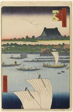 Hiroshige - One Hundred Famous Views of Edo Autumn 78 Teppōzu and Tsukiji Monzeki Temple (鉄砲洲築地門跡 Teppōzu Tsukiji Monzeki?)Sumida River, Tsukiji Hongan-ji TempleLike no. 79, this print has the changed series title: Entertaining Supplements to the One Hundred Famous Views of Edo, as likely Hiroshige wanted to end this series having produced 110 plates already at the time; he resumed the original title on the publisher insisting to do so1858 / 7Tsukiji, Chūō
